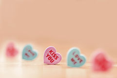 Kiss You. Love Hearts Shape Stock Photo