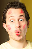 Kissed man Royalty Free Stock Photography