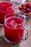 Kissel with cherry and plum. In glass cups Stock Photos