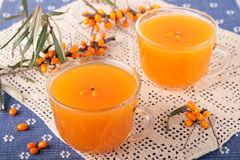 Kissel of seabuckthorn berries in two cups Stock Photo