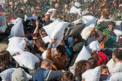 Kissenschlacht-Tag 2015 Stockfotografie