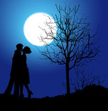 Kisses and moonlight. Couple in love in the moonlight Stock Photo
