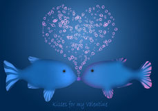 Kisses For My Valentine. Two fish kissing and creating air bubbles Stock Photography