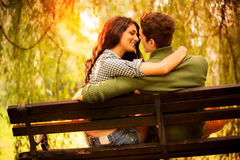 Kisses On A Park Bench Royalty Free Stock Images