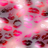 Kisses pattern on red blur background Royalty Free Stock Image