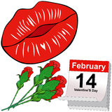 Kisses and Red roses for Valentine's Day Stock Photos