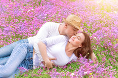 Kisses on spring meadow Royalty Free Stock Photography
