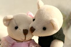 Kisses for You. Male teddy bear kissing female teddy bear Royalty Free Stock Photography