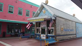 Auntie Anne Pretzel Shop. Kissimmee, Florida / USA, March 2, 2019:  Auntie Anne`s Shop, American Chain Of Pretzel Shops. Kissimmee Old Town, Florida, United stock video footage