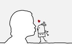 Kissing. Single line human profile and character vector illustration