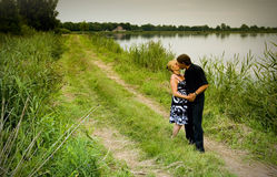Kissing adult couple stock photo