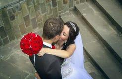 Kissing at the balcony stock photo