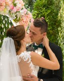 Kissing,Beautiful Romantic Bride and Groom Stock Photo