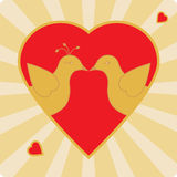 Kissing birds. Illustration of two birds kissing in a heart shaped frame.  EPS8 vector file also available Stock Photos