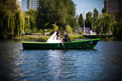 Kissing in boat Royalty Free Stock Photo