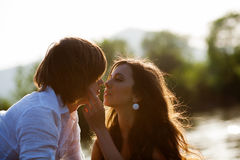 Kissing boy and girl Stock Photo