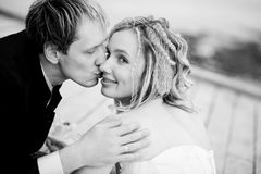 Kissing bride and groom Royalty Free Stock Image