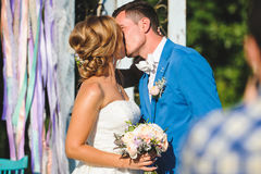 Kissing Bride and Groom. In sunlight Royalty Free Stock Image