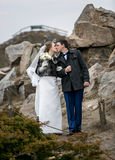 Kissing bride and groom walking at mountains Stock Image