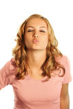 Kissing business woman Royalty Free Stock Photography