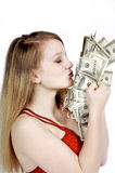 Kissing the Cash Stock Image