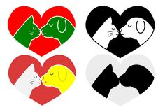 Kissing cat and dog Royalty Free Stock Images