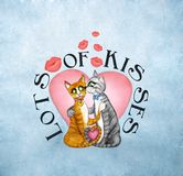 Kissing Cats. Cute kissing cats and lips with lots of kisses text around a pink heart on a grungy blue background Royalty Free Stock Photos