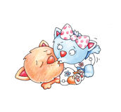 Kissing cats. Two cats are kissing each other Royalty Free Stock Image