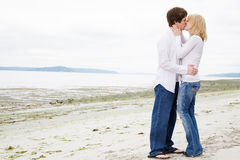 Kissing caucasian couple in love Stock Image