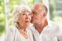 Kissing on the cheek. Senior husband kissing his wife on the cheek Stock Photography