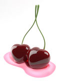 Kissing cherries heart shaped Royalty Free Stock Photography