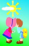 Kissing children royalty free stock photos