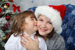 Kissing for christmas Stock Photo