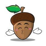 Kissing closed eyes acorn cartoon character style Royalty Free Stock Photography