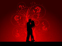 Kissing couple. Silhouette of a kissing couple on a decorative background vector illustration