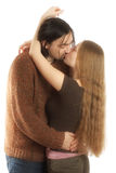 Kissing couple. Young adults, lovely kissing each other. Both have long hair Stock Photo