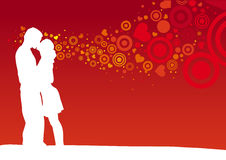 Kissing couple. On heart shaped red background Stock Photo