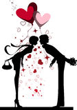 Kissing Couple. Vector images scale to any size stock illustration