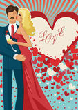 Kissing couple abd flying hearts Royalty Free Stock Image