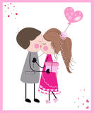 Kissing couple with balloon and gift greeting card Royalty Free Stock Photos