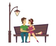 Kissing Couple on a Bench flat desing Stock Photos