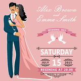 Kissing couple bride and groom. Cute edding invitation Royalty Free Stock Images