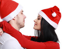 Kissing couple in Christmas Royalty Free Stock Images