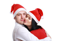 Kissing couple in Christmas Stock Photos