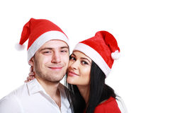 Kissing couple in Christmas Royalty Free Stock Photography