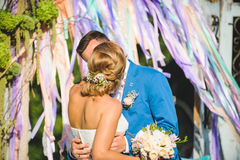 Kissing Couple and Colorful Ribbons. In wind Stock Images