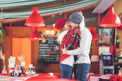 Kissing couple on a date Stock Photography