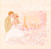 Kissing couple with eiffel tower Stock Photo