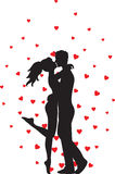 Kissing couple and hearts Stock Photography
