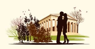 Kissing couple in historical square Stock Photography